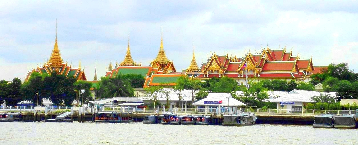 The Grand Palace, as seen from the Chao Phraya River in Bangkok. (Photo from Wikipedia)